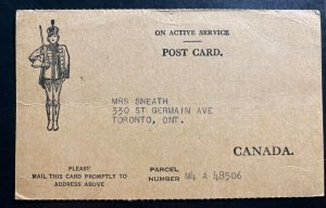 1944 Canadian Field Post Overseas Parcel Postcard Cover To Toronto Canada