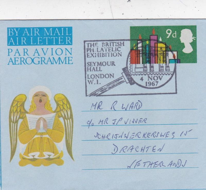 GB 1967 Air Letter 9d Christmas British Philatelic Exhibition CDS VGC