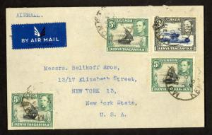 KUT KENYA 1946 KGVI Mombasa Cover 3shilling and 3x5c Sc 67 & 82a to USA Coffee