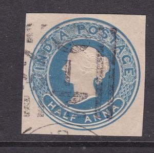 India half anna Victoria Postal Stationary Cutout VGC
