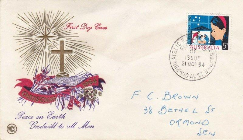 DC27) Australia 1964 Christmas Multicolour cachet WCS FDC
