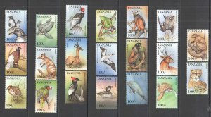A0609 TANZANIA ENDANGERED FAUNA WILD ANIMALS BIRDS MARINE LIFE !!! FULL SET MNH