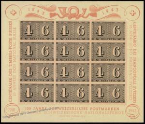 Switzerland Sc B130 1943 100yrs Swiss Stamps Souvenir Sheet 60596