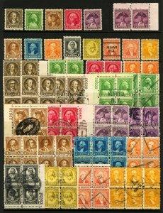 #704-#715 1932 1c-10c Washington Bicentennial Issue, Singles, Pairs, Blocks