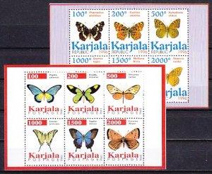 Karjala, 1996 Russian Local. Butterflies on 2 sheets of 6. ^