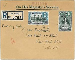 POSTAL HISTORY - COVER: ST LUCIA to USA - 1936