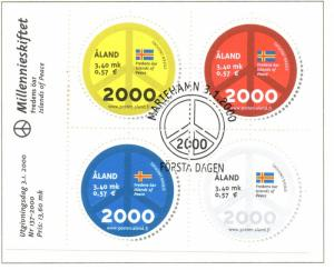 Aland Finland Sc 161 2000 Peace Symbol & Flag stamp souvenir sheet used