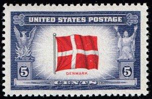 US STAMP #920 – 1943 Overrun Countries: 5c Flag of Denmark MNH SUPERB