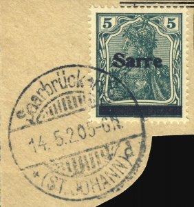 SARRE / SAARGEBIET - 1920 Saarbrücken 3 / * (ST. JOHANN) d cds /Mi.4.III 5pf