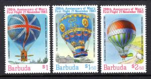Barbuda MNH 578-80 1st Manned Balloon Flight 1983 SCV 2.50