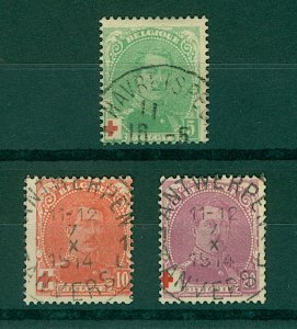 Belgium 1914 Red Cross Fund 5c to 20c sg154/6 (3v) FU Stamps