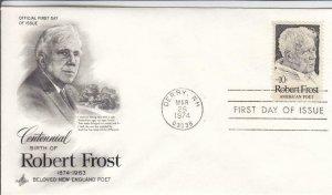 1974, 100th Anniv. Birth Robert Frost, Artcraft, FDC (D14793)