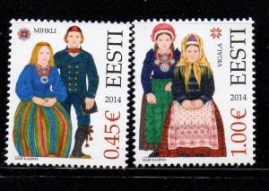 Estonia Sc 756-7 2014 Folk Costumes stamp set mint NH