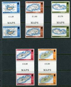 Alderney, Scott 37-41 Old Maps, 1989, NH Gutter Pairs Lot B