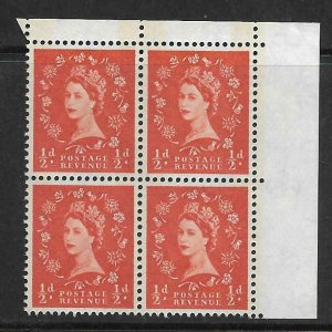 Sg S12a ½d Wilding Phos 1 x6mm NB right top corner block of 4 UNMOUNTED MINT