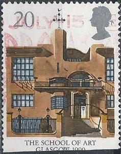 Great Britain 1315 (used, clipped filler) 20p School of Art, Glasgow (1990)