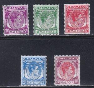 Malaya - Malacca # 22-26, King George VI, Definitives, LH, 1/3  Cat.