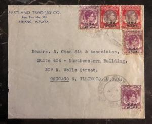 1947 Penang Malaya Commercial Cover To Chicago IL USA BMA Overprints