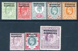 MOROCCO AGENCIES-1907-13 Set to 2/6 MOUNTED MINT V17385