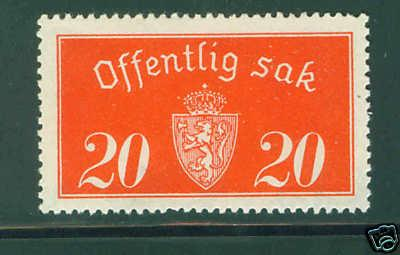 Norway Scott O14  Official 1933 MH* stamp CV $25