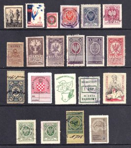 POLAND REVENUE STAMPS & MORE x21 COLLECTION LOT MINT (ONE NH) USED MIXED