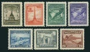 Philippines 504-510,hinged.Michel 462-468. Landmarks 1947.Monuments,Bridge,Gate,