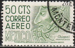 MEXICO C287, 50c 1950 Def 5th Issue Fluorescent uncoated. USED. F-VF. (1436)