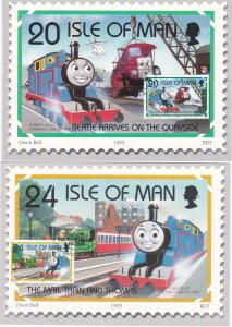 Isle of Man # 656-661, Thomas the Tank Engines Dreams, Maxi Cards, First Days