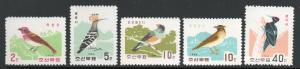 North Korea #730-734 Birds Mint NH cv$16.75 B348