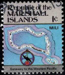 Marshall Islands Scott 35 Used 1c Map stamp