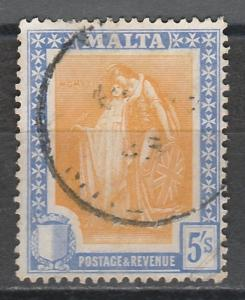 MALTA 1922 ALLEGORICAL 5/- USED