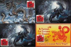 CANADA #2495 DRAGON LUNAR NEW YEAR, SET of 5 DIFF MAXIMUM CARDS