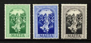 MALTA QE II 1954 Dogma of Immaculate Conception Set SG 263 to SG 265 MINT
