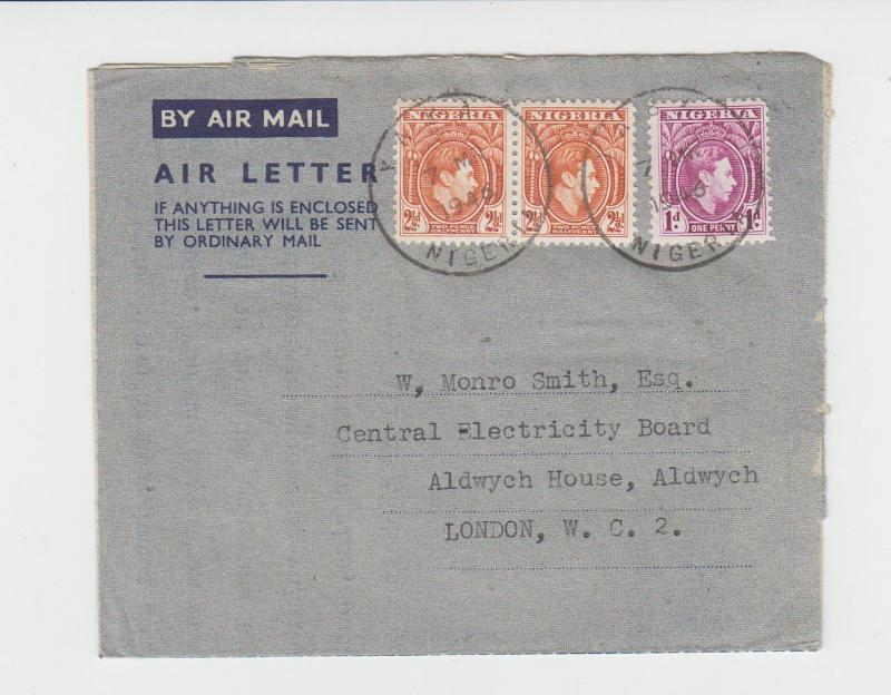 NIGERIA (YABA) TO UK 1946 AIR LETTER 6d RATED (SEE BELOW