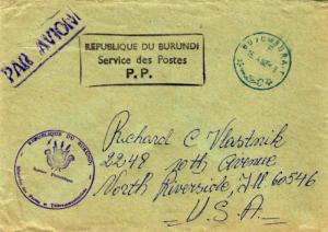 Ruanda Urundi Burundi Official Free Mail 1982 Busumbura-T Airmail to North Ri...