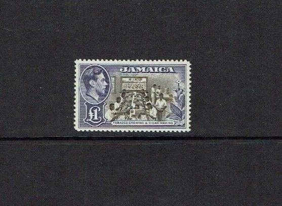 Jamaica: 1938, King George VI definitive, £1, chocolate & violet, MNH