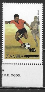 Zambia 408 ERROR DOUBLE Surcharges single MNH (lib)
