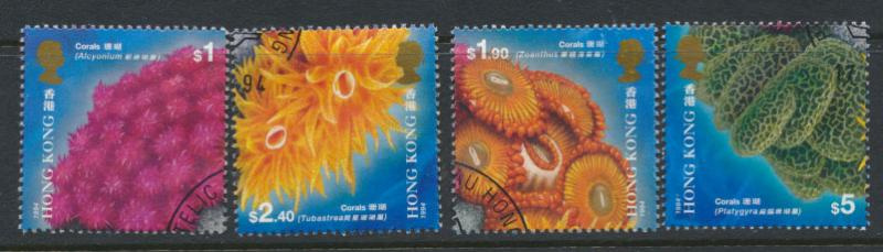 Hong Kong SG 788 - 791 set of 4 First Day of issue cancel - Corals
