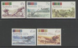 AUSTRALIA SG1338/42 1992 SECOND WORLD WAR BATTLES MNH