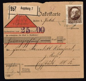 GERMANY STAMP BAVARIA BAYERN POST CARD WITH STAMPS LOT #1