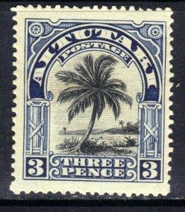 Aitutaki 1920  KGV 3d Black & Deep Blue MM SG 27 ( F19 )
