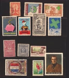URUGUAY ARGENTINA SPAIN FRANCE HEALTH MILITARY REVENUES POSTER STAMPS CINDERELLA