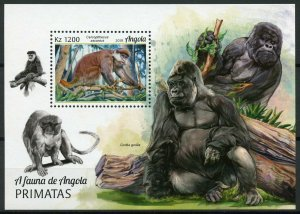 Angola 2018 MNH Primates Red-Tailed Monkeys Gorillas 1v M/S Wild Animals Stamps