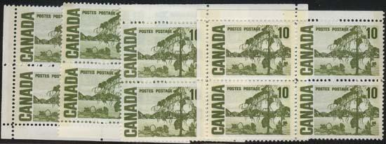 Canada USC #462pi Blank Corner Blocks UR, LR & LL - VF-NH Cat. $30.