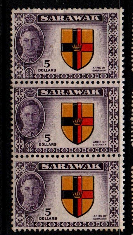 Sarawak Sc 194 1950 $5 George VI & Seal stamp strip of 3 mint