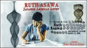 20-179, 2020, Ruth Asawa, First Day Cover, Pictorial Postmark, Japanese American