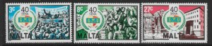 MALTA SG722/4 1983 GENERAL WORKERS UNION SET MNH