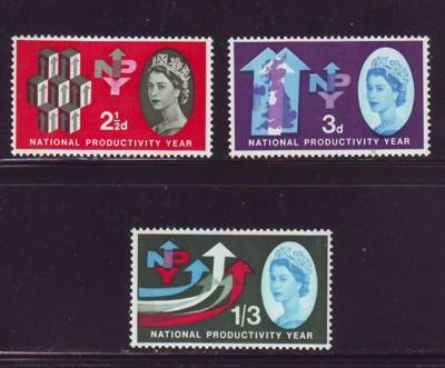 Great Britain Sc 387p-89p 1962 Productivity Yr Phosphor stamp set mint NH