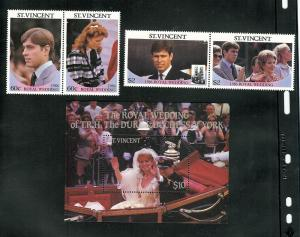 St. Vincent MNH S/S & Set 958-60 Prince Andrew & Sarah Ferguson Royal Wedding