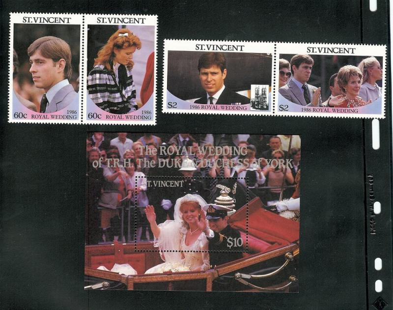 St. Vincent MNH S/S & Stamps 958-60 Prince Andrew & Sarah Ferguson